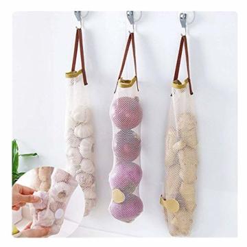 WJkuku 3 Stück Wiederverwendbar Obst und Gemüse Shopping Bag Lebensmittel Aufbewahrungstasche mit Griff Küche Multifunktions Aufhängen der Tasche, Textil, Brown/Green/White - 1