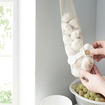 WJkuku 3 Stück Wiederverwendbar Obst und Gemüse Shopping Bag Lebensmittel Aufbewahrungstasche mit Griff Küche Multifunktions Aufhängen der Tasche, Textil, Brown/Green/White - 5