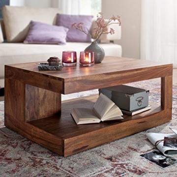 Wohnling Couchtisch Massiv-Holz Sheesham 90 cm breit Wohnzimmer-Tisch Design Landhaus-Stil Beistelltisch Natur-Produkt Wohnzimmermöbel Unikat modern Massivholzmöbel Echtholz rechteckig dunkel-braun - 2
