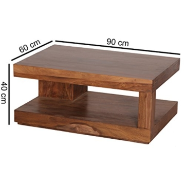 Wohnling Couchtisch Massiv-Holz Sheesham 90 cm breit Wohnzimmer-Tisch Design Landhaus-Stil Beistelltisch Natur-Produkt Wohnzimmermöbel Unikat modern Massivholzmöbel Echtholz rechteckig dunkel-braun - 3