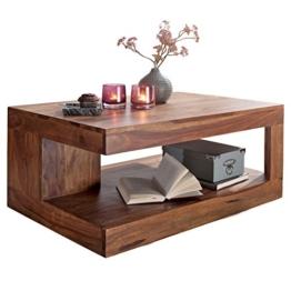 Wohnling Couchtisch Massiv-Holz Sheesham 90 cm breit Wohnzimmer-Tisch Design Landhaus-Stil Beistelltisch Natur-Produkt Wohnzimmermöbel Unikat modern Massivholzmöbel Echtholz rechteckig dunkel-braun - 1