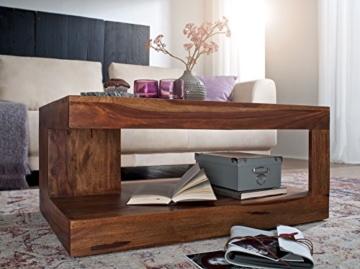 Wohnling Couchtisch Massiv-Holz Sheesham 90 cm breit Wohnzimmer-Tisch Design Landhaus-Stil Beistelltisch Natur-Produkt Wohnzimmermöbel Unikat modern Massivholzmöbel Echtholz rechteckig dunkel-braun - 6