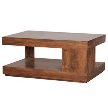 Wohnling Couchtisch Massiv-Holz Sheesham 90 cm breit Wohnzimmer-Tisch Design Landhaus-Stil Beistelltisch Natur-Produkt Wohnzimmermöbel Unikat modern Massivholzmöbel Echtholz rechteckig dunkel-braun - 7