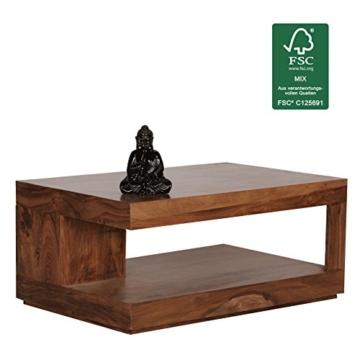 Wohnling Couchtisch Massiv-Holz Sheesham 90 cm breit Wohnzimmer-Tisch Design Landhaus-Stil Beistelltisch Natur-Produkt Wohnzimmermöbel Unikat modern Massivholzmöbel Echtholz rechteckig dunkel-braun - 8