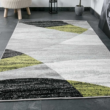 Wohnzimmer Teppich Modern Geometrisches Muster Gestreift Meliert in Grün Weiss Schwarz Grau 160x220 cm - 3