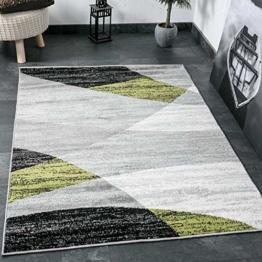 Wohnzimmer Teppich Modern Geometrisches Muster Gestreift Meliert in Grün Weiss Schwarz Grau 160x220 cm - 1