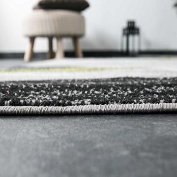 Wohnzimmer Teppich Modern Geometrisches Muster Gestreift Meliert in Grün Weiss Schwarz Grau 160x220 cm - 4