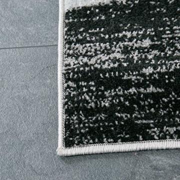 Wohnzimmer Teppich Modern Geometrisches Muster Gestreift Meliert in Grün Weiss Schwarz Grau 160x220 cm - 5