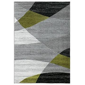 Wohnzimmer Teppich Modern Geometrisches Muster Gestreift Meliert in Grün Weiss Schwarz Grau 160x220 cm - 6