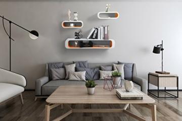 WOLTU RG9230or-a Wandregal Lounge 3er Set Bücherregal Hängeregal, weiß-orange - 3