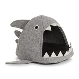 Zeller Katzen-Körbchen Hai, Filz Schlüsselkasten, Holz, grau, 45 x 38 x 32 cm - 1