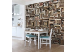 Bilderwelten Fototapete Vliestapete Quadrat »Shabby Bücherwand«
