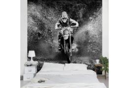Bilderwelten Vliestapete Quadrat »Motocross im Schlamm«
