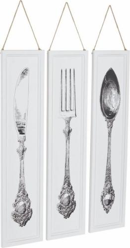 Home affaire Wandbilder »Besteck« (3-tlg.)