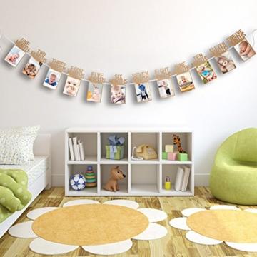 1. Geburtstag Girlande Bilderrahmen Baby Foto Banner Baby 1-12 Monate Foto Prop Party Girlande Dekor Verdickte Karte Papier (Braun) - 2