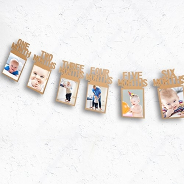 1. Geburtstag Girlande Bilderrahmen Baby Foto Banner Baby 1-12 Monate Foto Prop Party Girlande Dekor Verdickte Karte Papier (Braun) - 3