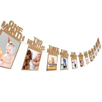 1. Geburtstag Girlande Bilderrahmen Baby Foto Banner Baby 1-12 Monate Foto Prop Party Girlande Dekor Verdickte Karte Papier (Braun) - 1
