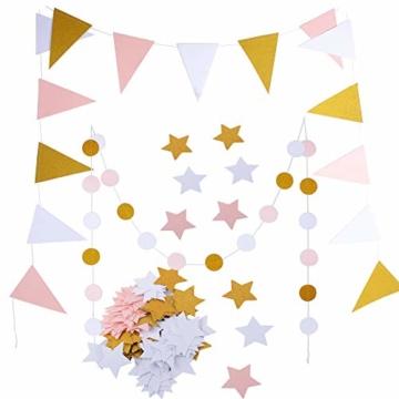 2 Stück 2.5 Meter Papier Wimpel Girlande + 2 Stück 2.5 Meter Kreis Girlande + 100Pcs Stern Konfetti Papier Konfetti Banner Papier Wimpelkette Wimpelgirlande Glitter Glitzer Deko für Hochzeit Geburtstag Party Kinderzimmer Räumer Fenster (Gold Schwarz Weiß) - 1