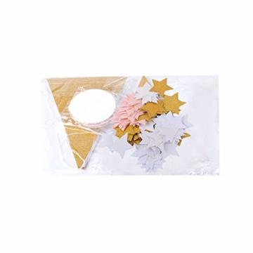 2 Stück 2.5 Meter Papier Wimpel Girlande + 2 Stück 2.5 Meter Kreis Girlande + 100Pcs Stern Konfetti Papier Konfetti Banner Papier Wimpelkette Wimpelgirlande Glitter Glitzer Deko für Hochzeit Geburtstag Party Kinderzimmer Räumer Fenster (Gold Schwarz Weiß) - 8