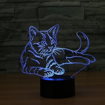 3D Licht optische Illusion 3D Lampe Led Illusion Tischlampe Katze Nachtlicht Geburtstagsgeschenk Weihnachtsgeschenk für Freunde Kinder - 2