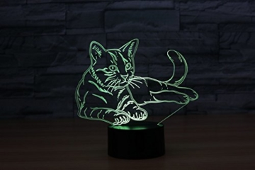 3D Licht optische Illusion 3D Lampe Led Illusion Tischlampe Katze Nachtlicht Geburtstagsgeschenk Weihnachtsgeschenk für Freunde Kinder - 5