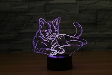 3D Licht optische Illusion 3D Lampe Led Illusion Tischlampe Katze Nachtlicht Geburtstagsgeschenk Weihnachtsgeschenk für Freunde Kinder - 6