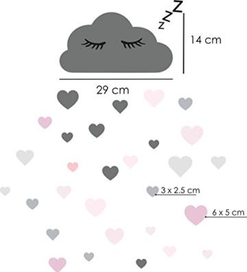 60 Teile Wolken mit Gesicht Wandtattoo Kinderzimmer Set - Rauhfaser Wandsticker Pastell Farben Baby Tapete Sticker zum Kleben, Wandaufkleber Sleepy Eye Wanddeko, Wandfolie, Kleinkinder, Mädchen Grau - 2