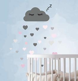 60 Teile Wolken mit Gesicht Wandtattoo Kinderzimmer Set - Rauhfaser Wandsticker Pastell Farben Baby Tapete Sticker zum Kleben, Wandaufkleber Sleepy Eye Wanddeko, Wandfolie, Kleinkinder, Mädchen Grau - 1
