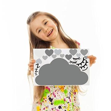 60 Teile Wolken mit Gesicht Wandtattoo Kinderzimmer Set - Rauhfaser Wandsticker Pastell Farben Baby Tapete Sticker zum Kleben, Wandaufkleber Sleepy Eye Wanddeko, Wandfolie, Kleinkinder, Mädchen Grau - 7