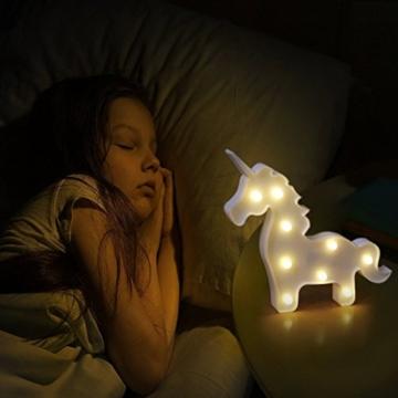 AIZESI Einhorn Lampe Weiß,Einhorn LED Nachtlicht Kinderzimmer Mädchen,Wand Deko,Tischlampe Deko Wohnzimmer,Babyzimmer,Wohnzimmer,Party,Weihnachten Geschenk,Batteriebetrieben(Einhorn Weiß) - 4
