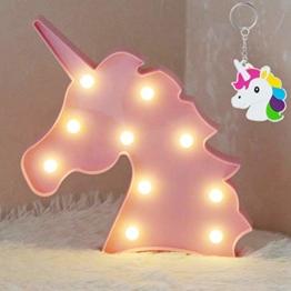 AIZESI LED Einhorn Lampe Rosa Deko,Unicorn LED Night,Kinderzimmer Deko Mädchen Einhorn,Wand Deko,Tischlampe Babyzimmer,Wohnzimmer,Party,Weihnachten Geschenk mit Schlüsselanhänger(Rosa Einhorn) - 1