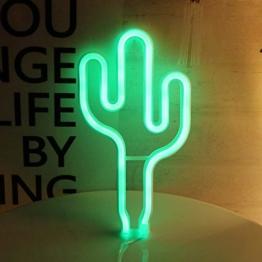 AIZESI Neon Kaktus Lampe Grün Nachtlicht,LED Lampen,Batteriebetrieben oder USB,Tischlamp,Wand Deko für Mädchen Schlafzimmer,Wohnzimmer,Weihnachten,Party als Kinder Geschenk(Green Cactus) - 1