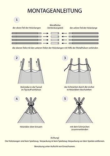 Amilian® Tipi Spielzelt Zelt für Kinder T11 (Spielzelt mit der Tipidecke und Kissen) - 3