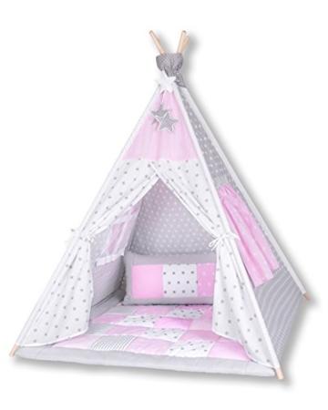 Amilian® Tipi Spielzelt Zelt für Kinder T11 (Spielzelt mit der Tipidecke und Kissen) - 1