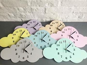 BABEES Kinder Wanduhr Wolken, Uhr ohne Tickgeräusche, Kinderuhr für Kinderzimmer, Lautlos Uhrwerk, Wanddeko Skandi Deko Gelb - 3