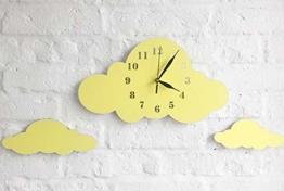 BABEES Kinder Wanduhr Wolken, Uhr ohne Tickgeräusche, Kinderuhr für Kinderzimmer, Lautlos Uhrwerk, Wanddeko Skandi Deko Gelb - 1