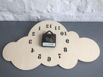 BABEES Kinder Wanduhr Wolken, Uhr ohne Tickgeräusche, Kinderuhr für Kinderzimmer, Lautlos Uhrwerk, Wanddeko Skandi Deko Gelb - 5