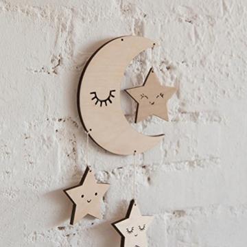 BESTOYARD Holz Hängedeko Mond Sterne mit Augenwimper Gute Nacht Decke Hängen Baby Mobile Kinderzimmer Dekoration - 2