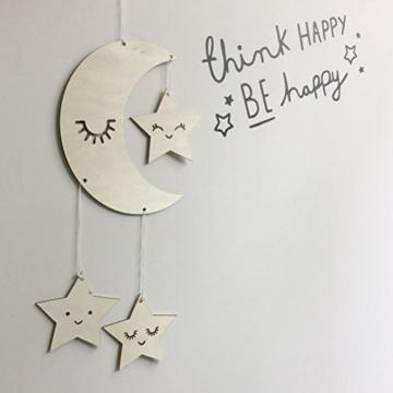 BESTOYARD Holz Hängedeko Mond Sterne mit Augenwimper Gute Nacht Decke Hängen Baby Mobile Kinderzimmer Dekoration - 4