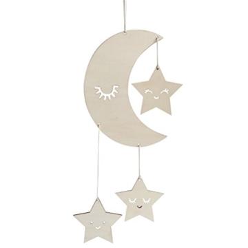 BESTOYARD Holz Hängedeko Mond Sterne mit Augenwimper Gute Nacht Decke Hängen Baby Mobile Kinderzimmer Dekoration - 1