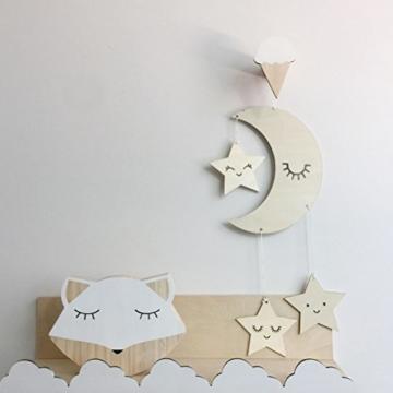 BESTOYARD Holz Hängedeko Mond Sterne mit Augenwimper Gute Nacht Decke Hängen Baby Mobile Kinderzimmer Dekoration - 5