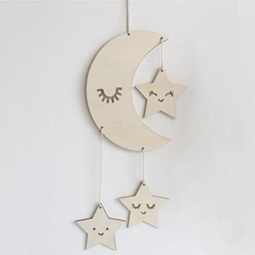 BESTOYARD Holz Hängedeko Mond Sterne mit Augenwimper Gute Nacht Decke Hängen Baby Mobile Kinderzimmer Dekoration - 6