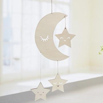 BESTOYARD Holz Hängedeko Mond Sterne mit Augenwimper Gute Nacht Decke Hängen Baby Mobile Kinderzimmer Dekoration - 7