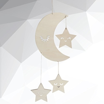 BESTOYARD Holz Hängedeko Mond Sterne mit Augenwimper Gute Nacht Decke Hängen Baby Mobile Kinderzimmer Dekoration - 8