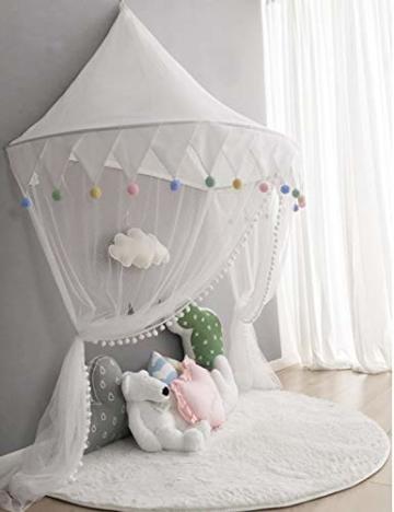 Betthimmel Babybett Baldachin Kinderzimmer Moskitonetz Bett Baby Zelt Spielen Zimmerdekoration für Babys, Mädchen, Jungen, Mückenschutz WBT - 4