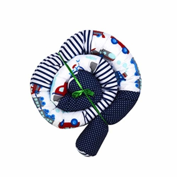 Bettschlange 210 cm Nestchenschlange für baby Bettrolle 2,10m bettumrandung Babybettschlange Auto Muster - 2