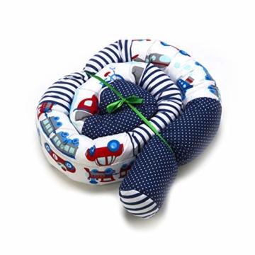 Bettschlange 210 cm Nestchenschlange für baby Bettrolle 2,10m bettumrandung Babybettschlange Auto Muster - 1