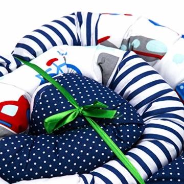 Bettschlange 210 cm Nestchenschlange für baby Bettrolle 2,10m bettumrandung Babybettschlange Auto Muster - 7