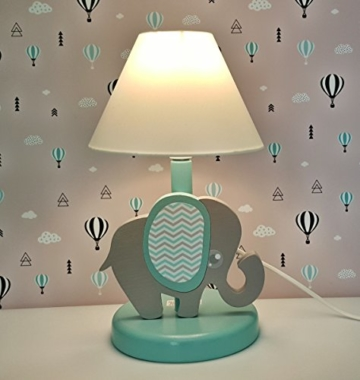 Clevere Kids Kinder Tischlampe Alle Meine Tiere Holz Handarbeit A++ (Elefant blau) - 1