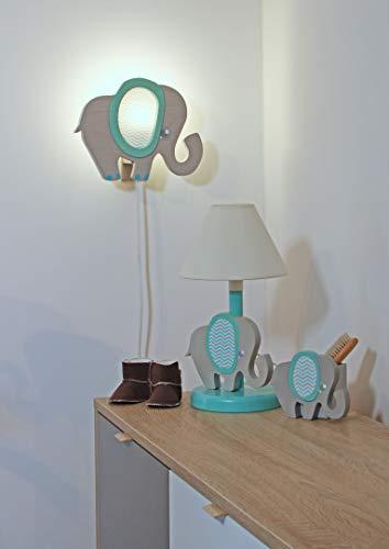 Clevere Kids Kinder Tischlampe Alle Meine Tiere Holz Handarbeit A++ (Elefant blau) - 3